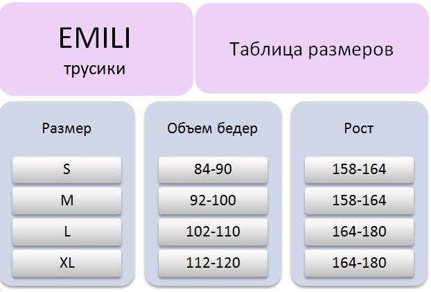 Таблица размеров Emili