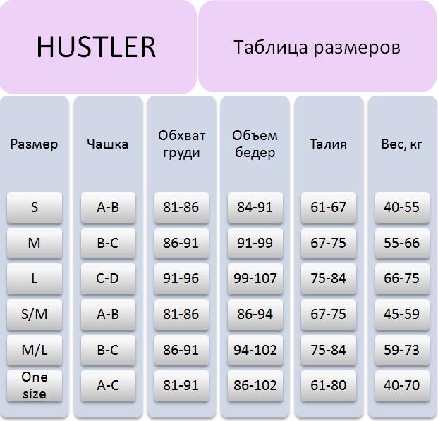 Таблица размеров Hustler Lingerie