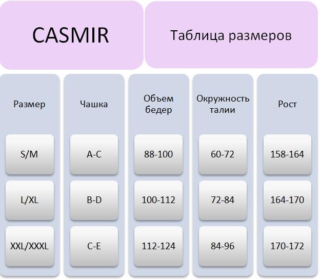 Таблица размеров Casmir